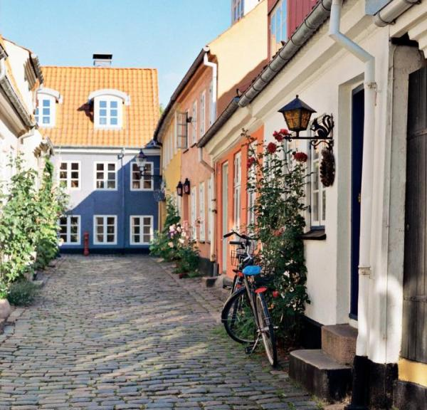 Coulourful houses on street in Aalborg, Denmark